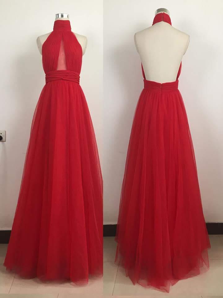 Backless Long Halter Red Prom Dresses
