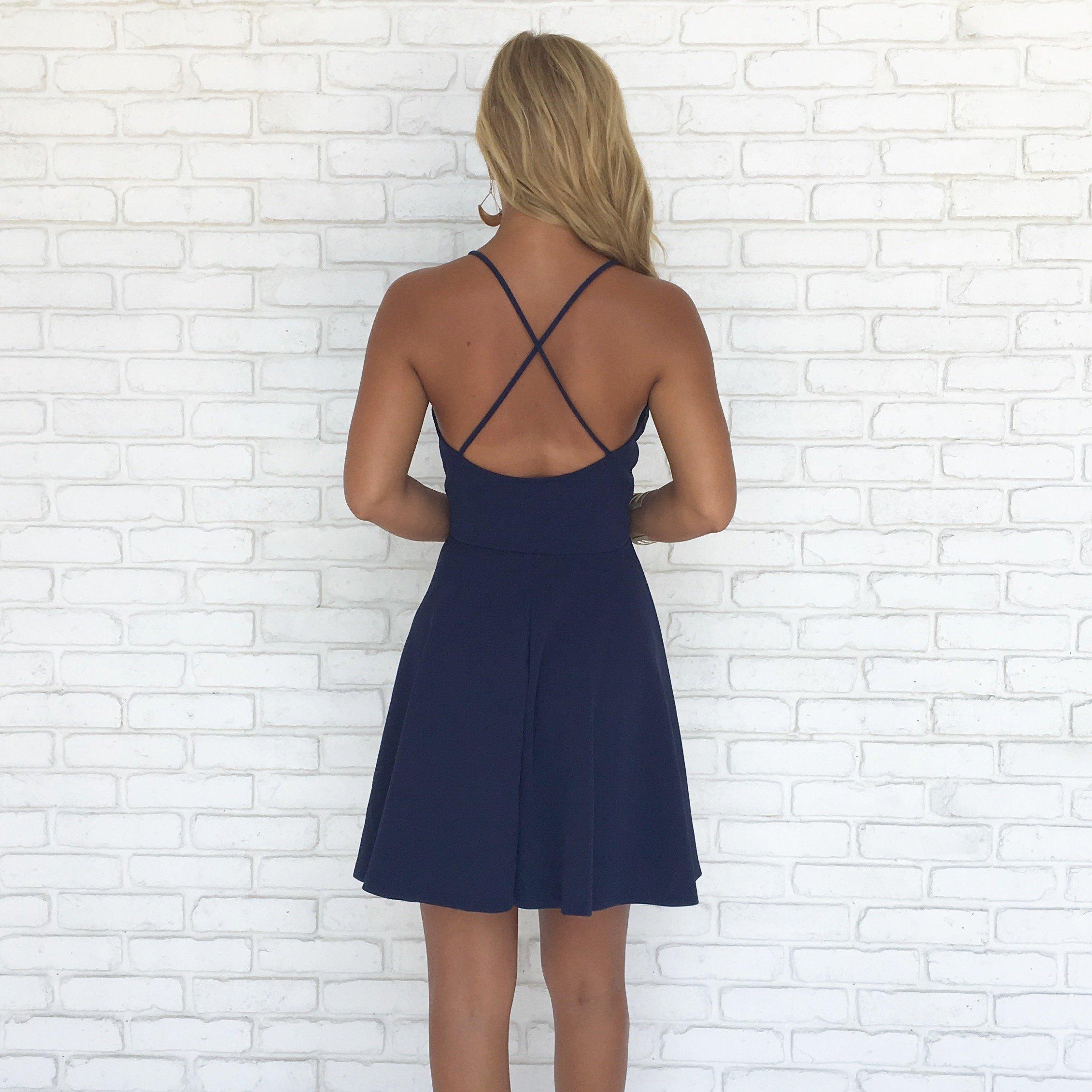 f114a4ba24e Straps Short V Neck Navy Blue Homecoming Dress · modsele · Online ...