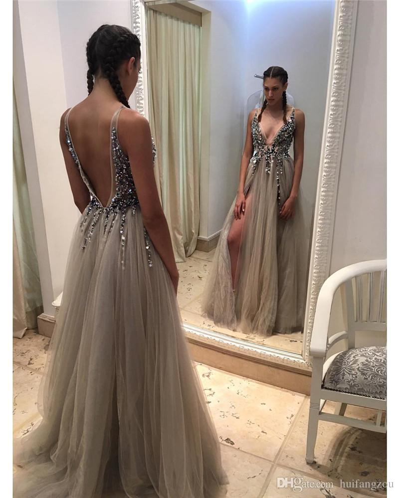 ce31d91aae Sexy V Neck Backless Long Crystal Champagne Tulle Prom Dress with Side Split