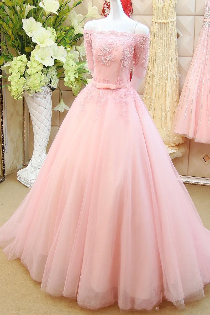 Stunning A-Line Off the Shouder Half Sleeve Long Lace Pink Tulle ...