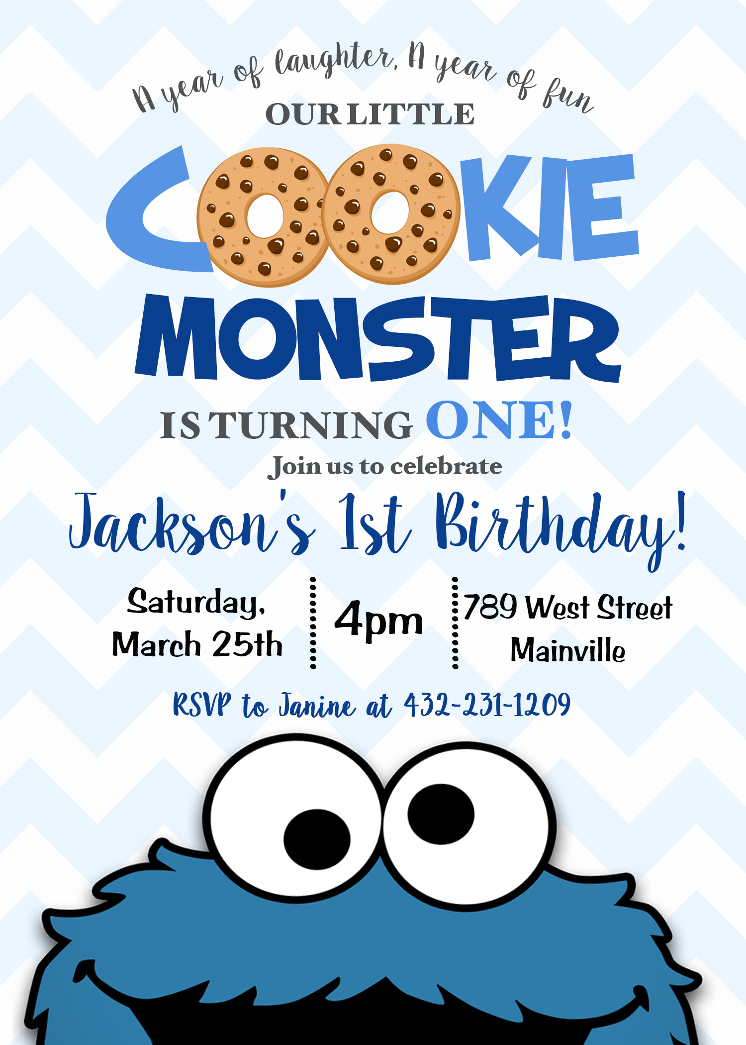 Cookie Monster First Birthday, One Year, Birthday Party, Invitation ...