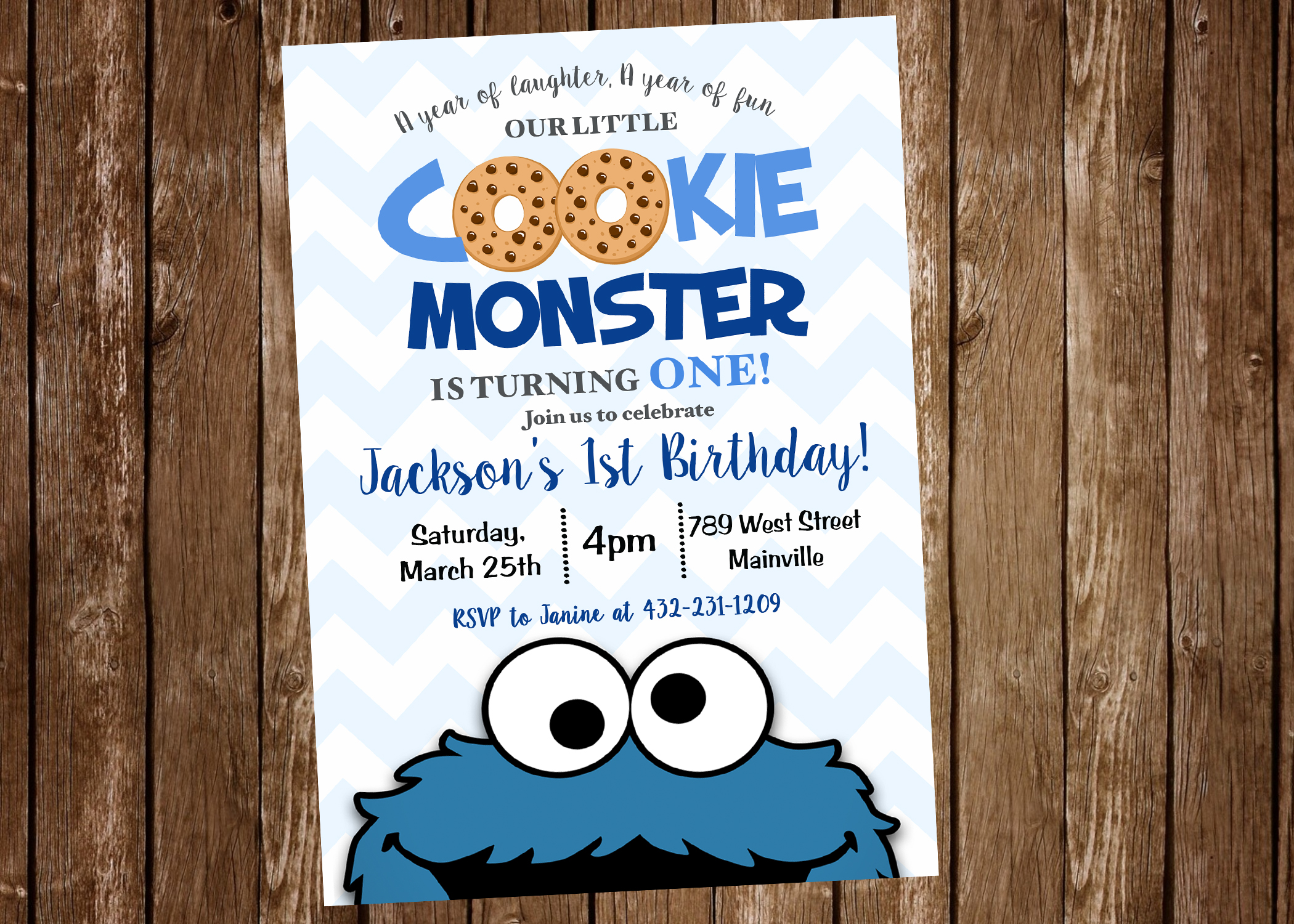 Cookie Monster First Birthday One Year Party Invitation