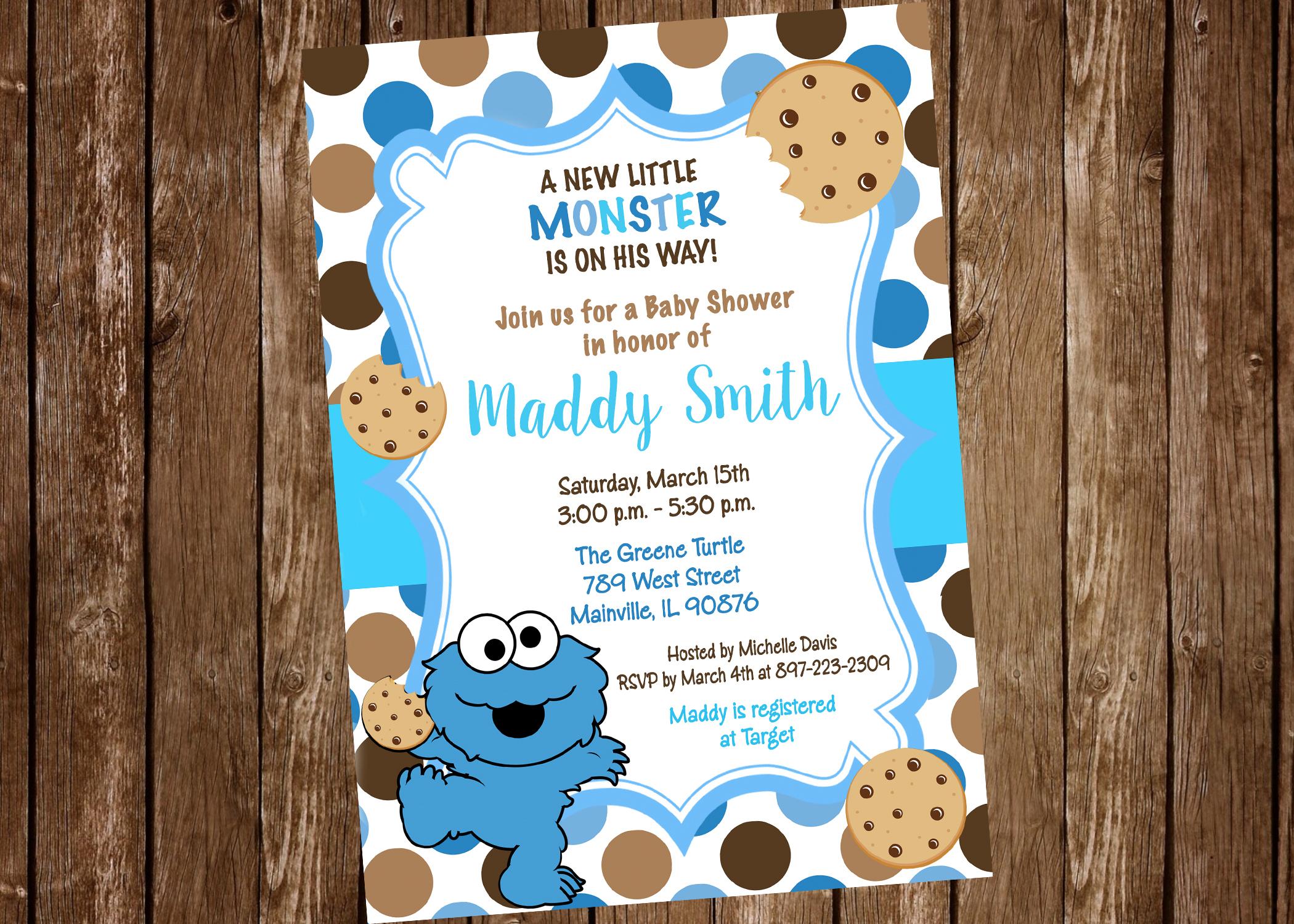 Cookie Monster Baby Shower Invitation Digital Or Printed On Storenvy