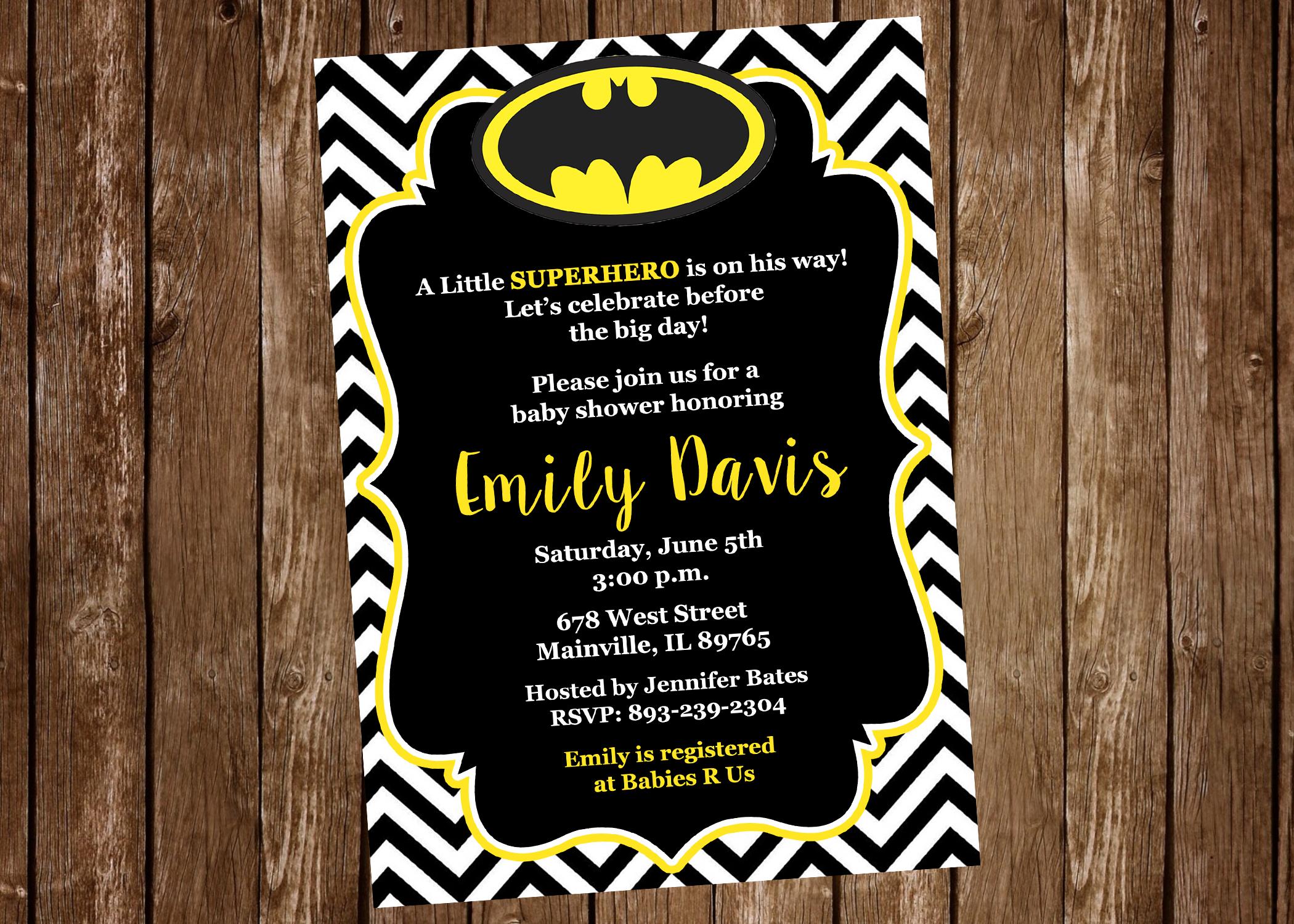 Batman Baby Shower Invitation Batman Superhero Baby Shower