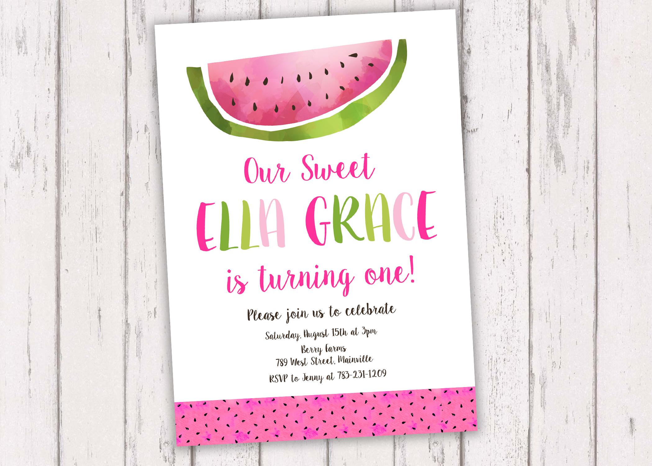 Watermelon Birthday Party Invitation, Watermelon, Melon, Fruit ...