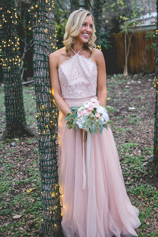 Light Pink Lace Halter Top A-line Tulle Prom Bridesmaid Dresses ...