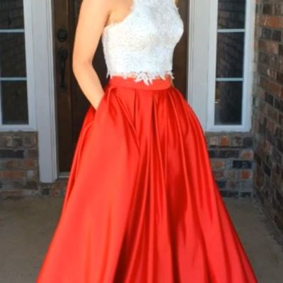 8c7fcd2d9512a6 E197 two piece long red royal blue black prom dress with white lace top ,halter