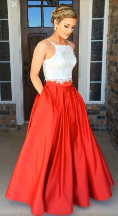 786a74d51e9 E197 Two Piece Long Red Royal Blue Black Prom Dress with White Lace  Top