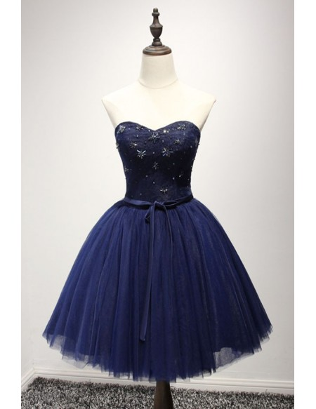 42c518013 Cute A-Line Sweetheart Navy Blue Tulle Short Homecoming Dress ...