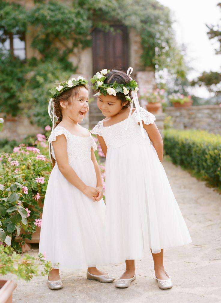 e4c49e29d0 Princess White Long Flower Girl Dress with Lace Cap Sleeves ...