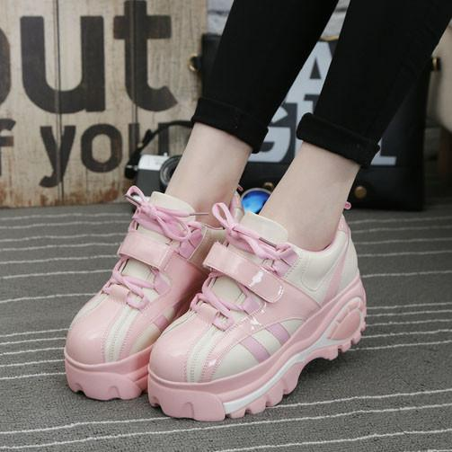 0ed18812ab931 Kpop 20pink 20pu 20leather 20platform 20sneaker 20college 20casual 20shoes  20dc518 original