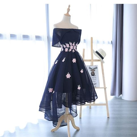 big sale most popular speical offer Cute off shoulder applique high low prom dress,homecoming dresses from  Little Cute