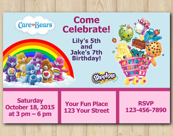 Twin Care Bears And Shopkins S Invitation