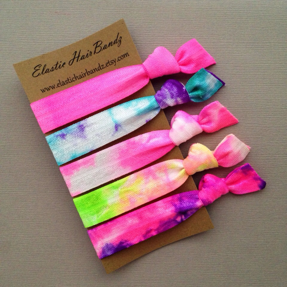The Cotton Candy Tie Dye Hair Tie -Ponytail Holder Collection - 5 Elastic  Hair Ties 26daae04cdd