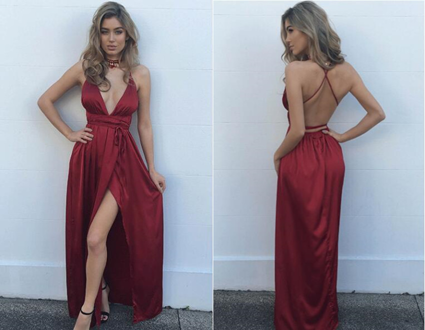Simple burgundy v neck long prom dress, burgundy formal dress ...