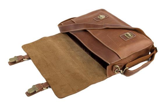 fc4974809b ... Handmade Top Grain Brown Tan Real Leather Messenger Bag Laptop Bag Men  Women  Business Briefcase