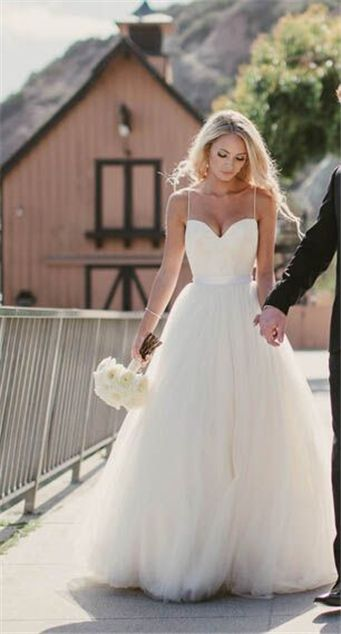Spaghetti straps tulle wedding dresssexy a line outdoor wedding spaghetti straps tulle wedding dresssexy a line outdoor wedding dress junglespirit Images