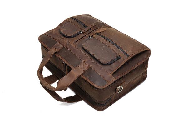 b344fd648 ... Handcrafted Full Grain Genuine Handmade Leather Business Briefcase Men  Women Laptop Bag, ...