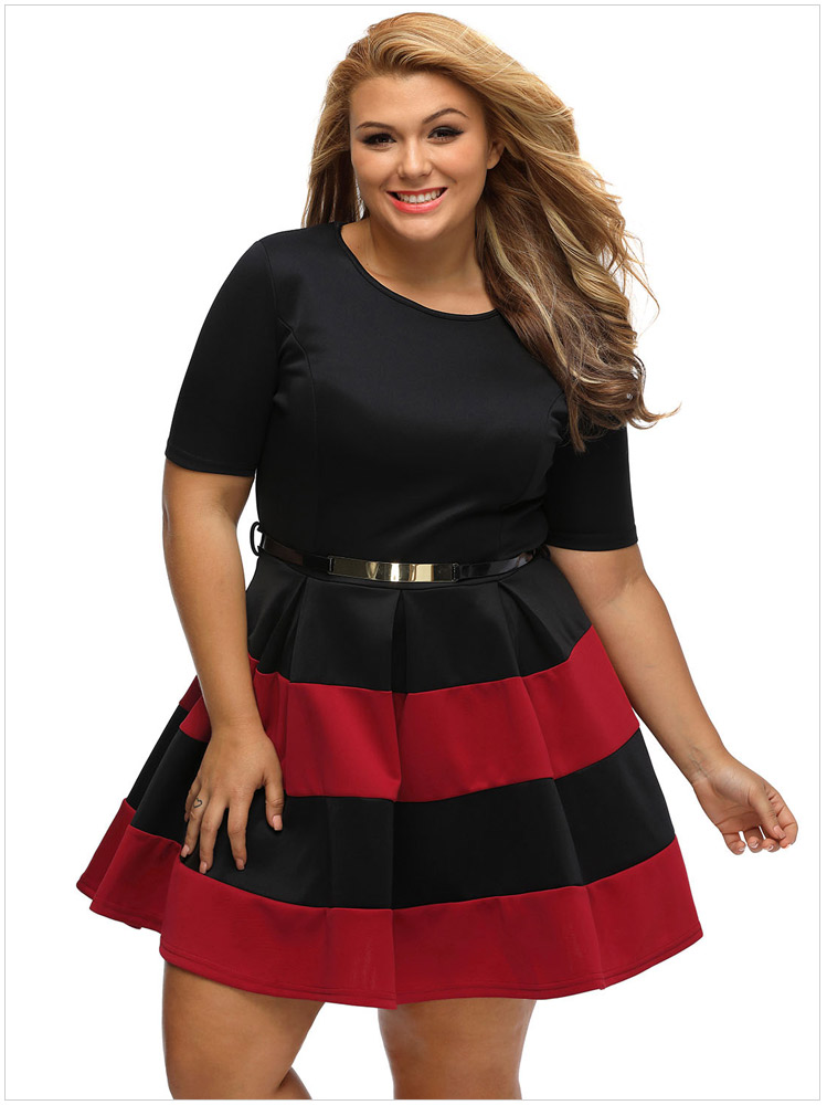 02c37f0ed8b3 women s new plus-size stripes round collar short sleeve with elastic  waistband dress club Skater