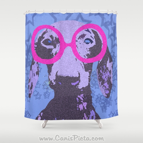. Hipster Dachshund Shower Curtain 71x74 Neon Dog Glasses Geek Bathroom Decor  Tub Bath Animal Pet Star Pink Blue Purple Nerd Periwinkle Puppy from Canis