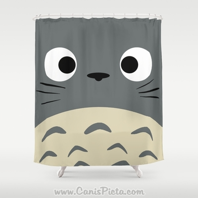 Curiously Totoro Kawaii My Neighbor Shower Curtain 71 X 74 Anime Decorative Catbus Grey