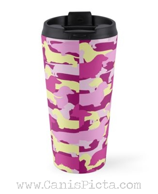 Doxie Long Smooth Camo Violet Magenta Wire Coat Coffee Drink Mug Tea Dachshund Camouflage Cup Gift Travel Cream Pink Weenie Silhouette Purple Metal bv6fgyY7