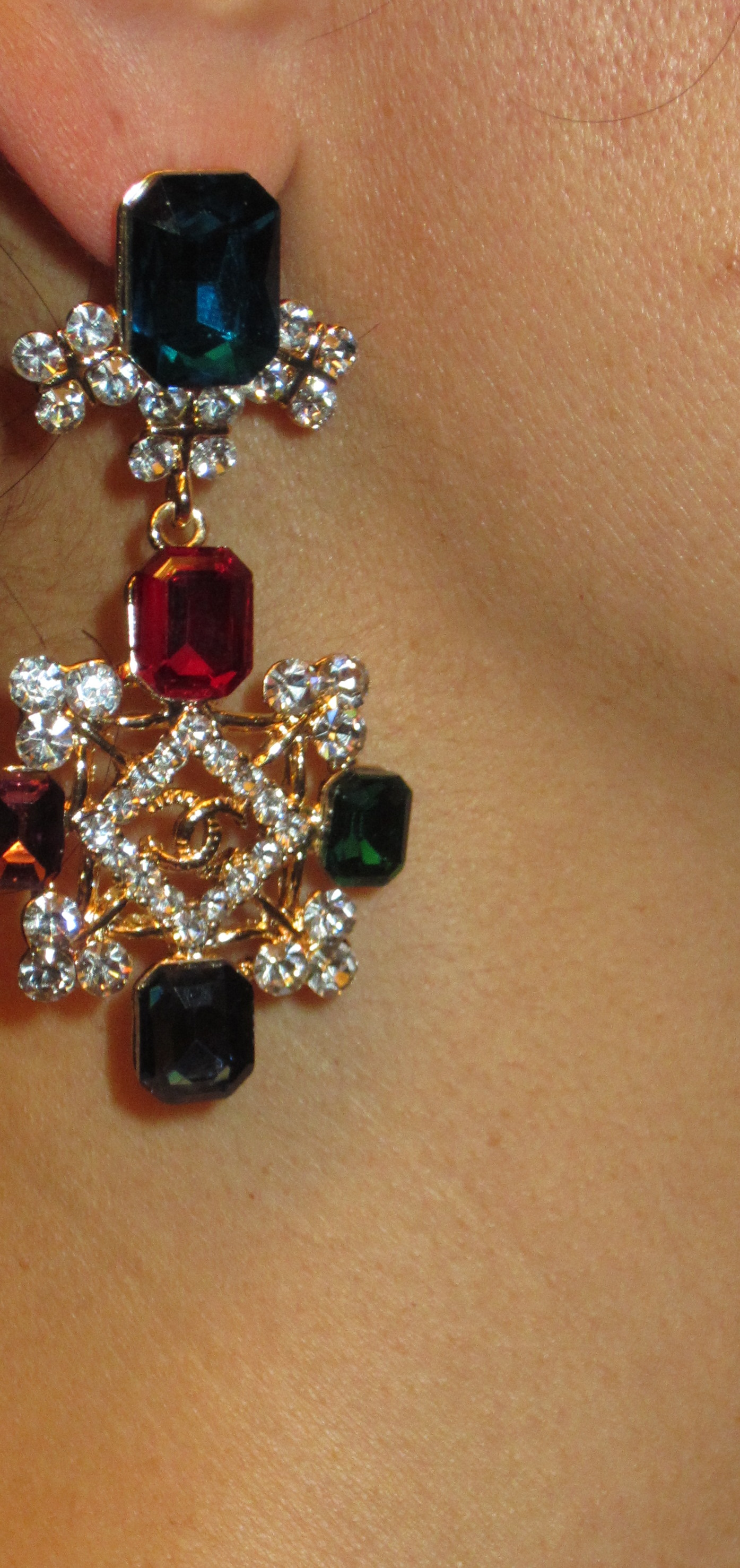 Chanel chandelier dangle emerald ruby cc crystal earrings on storenvy cccc4original arubaitofo Gallery