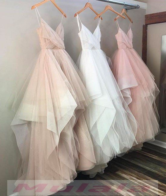 Blush Pink Champagne White Tulle Wedding Dresses Spaghetti Straps ...