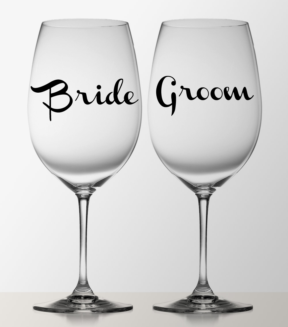 Bride and Groom To Be Wine Glass Pint Glass Decal Stickers Wedding