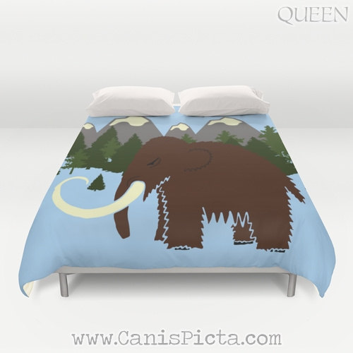 Woolly Mammoth Mountain Forest Bedding Duvet Cover Bed King Queen