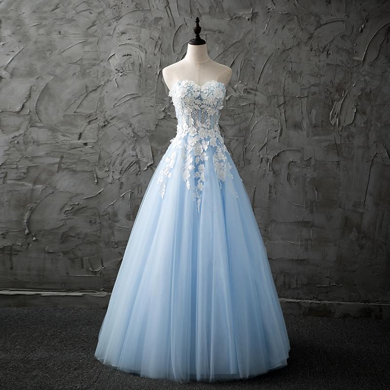 44e178add0 Light blue strapless lace long prom dress