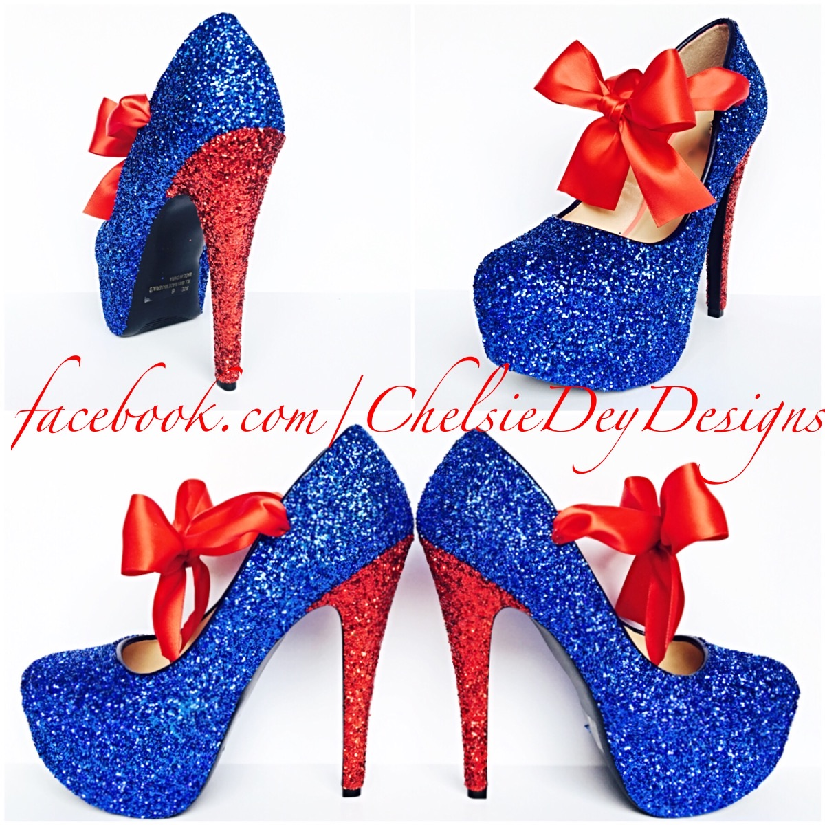Glitter High Heels Royal Blue And Red Pumps Sparkly