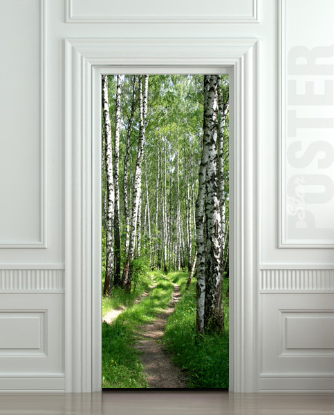 Door Sticker Wood Tree Forest Birch Way Mural Decole Film