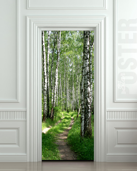 door sticker wood tree forest birch way mural decole film self adhesive poster 30x79 77x200cm. Black Bedroom Furniture Sets. Home Design Ideas