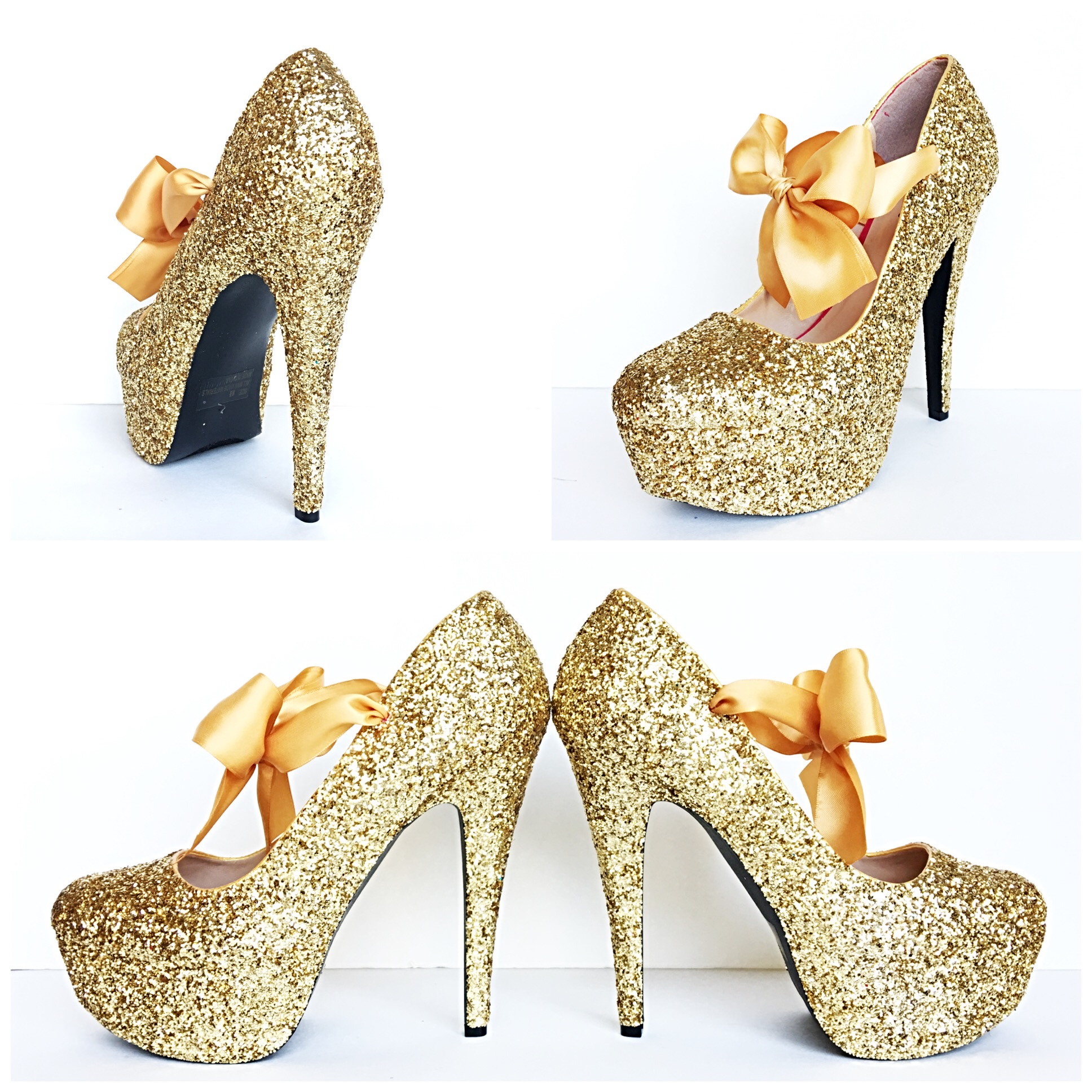 760ffdb437ec Gold Glitter High Heels