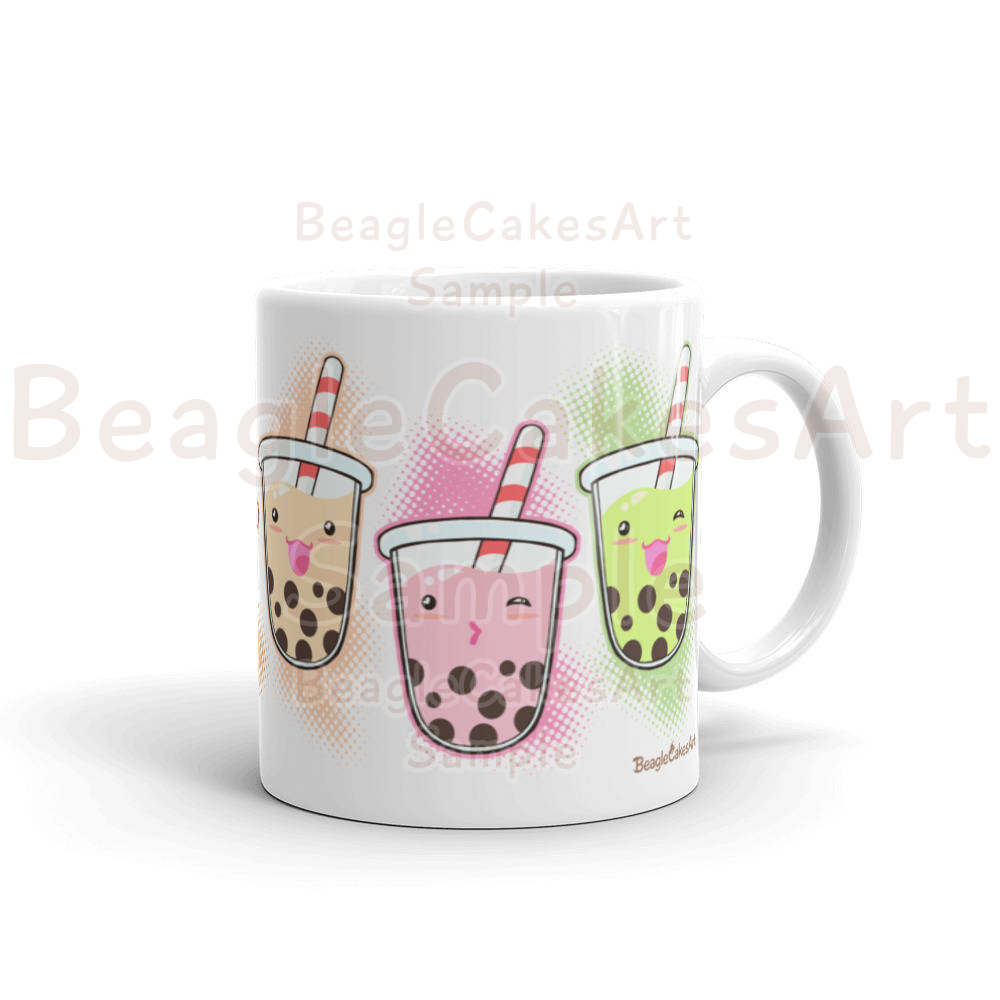 Bubble Tea Mug Coffee Mug Boba Tea Mug Kawaii Art Mug Birthday