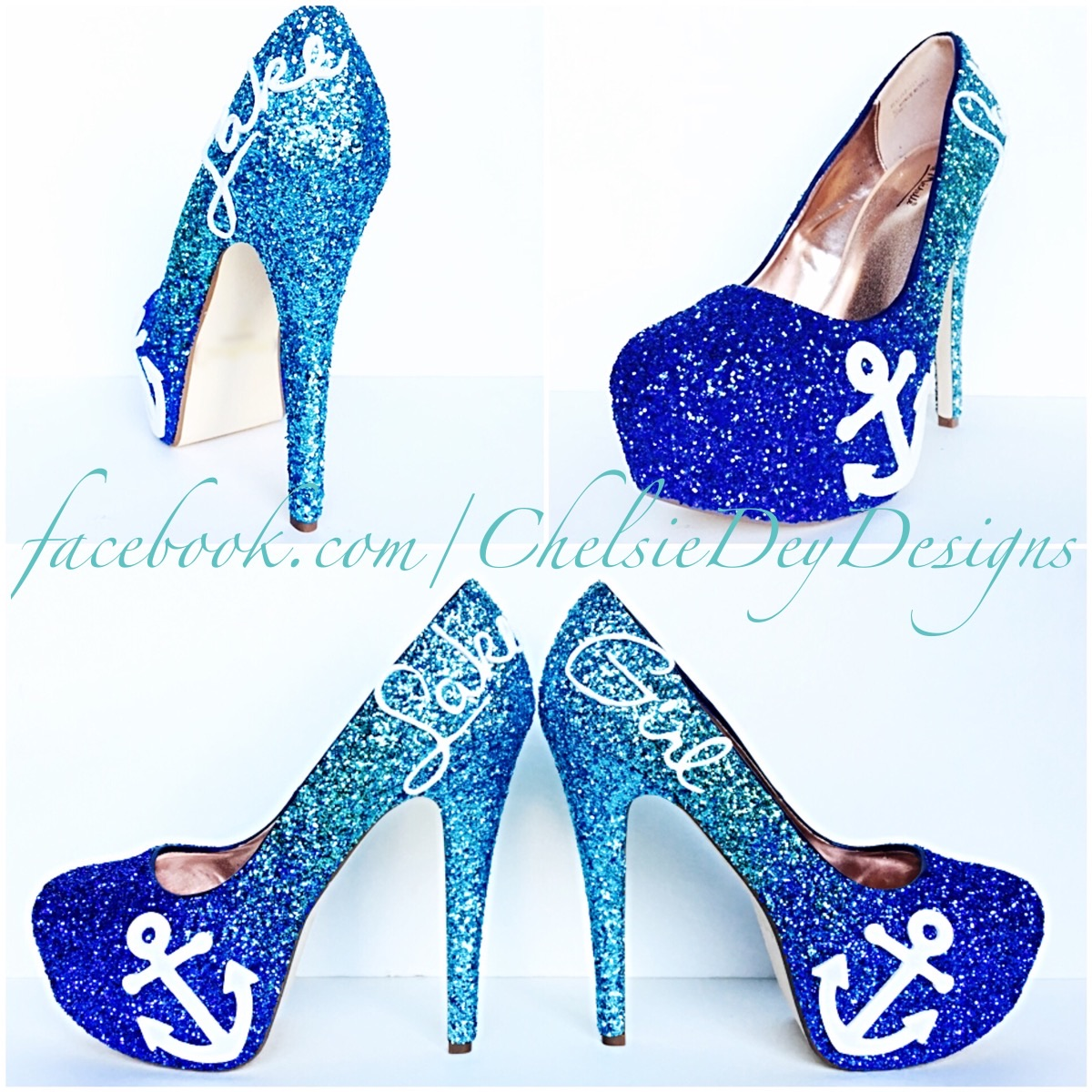 586a70deb0011 Glitter High Heels - Blue and Silver Pumps - Lake Girl Aqua Turquoise Ombre  Platform Shoes - Fade Two Tone Heels - Sparkly Glitzy Wedding Heels