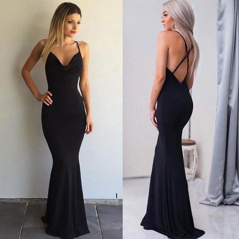 Spaghetti Simple Design Black Prom Dresses Mermaid Jersey Prom