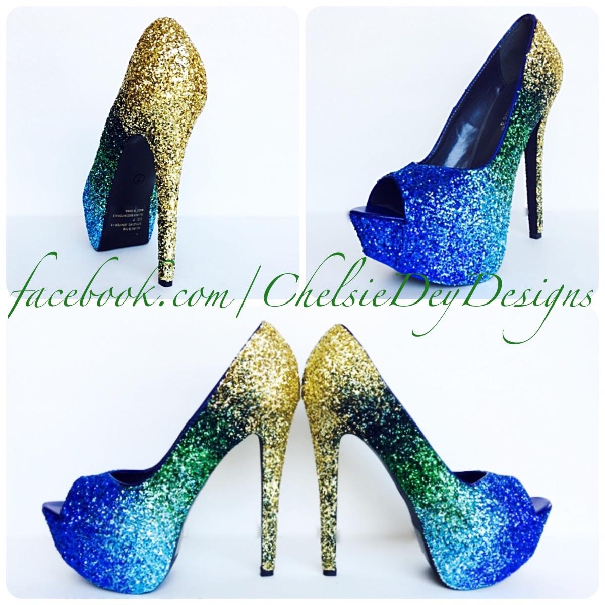 2dc9e289717 Peacock Glitter High Heels - Gold Green Royal Blue Light Blue Ombre Pumps -  Peacock Feather Wedding Peep Toe Shoes - Platform Open Toe Prom Pumps on ...