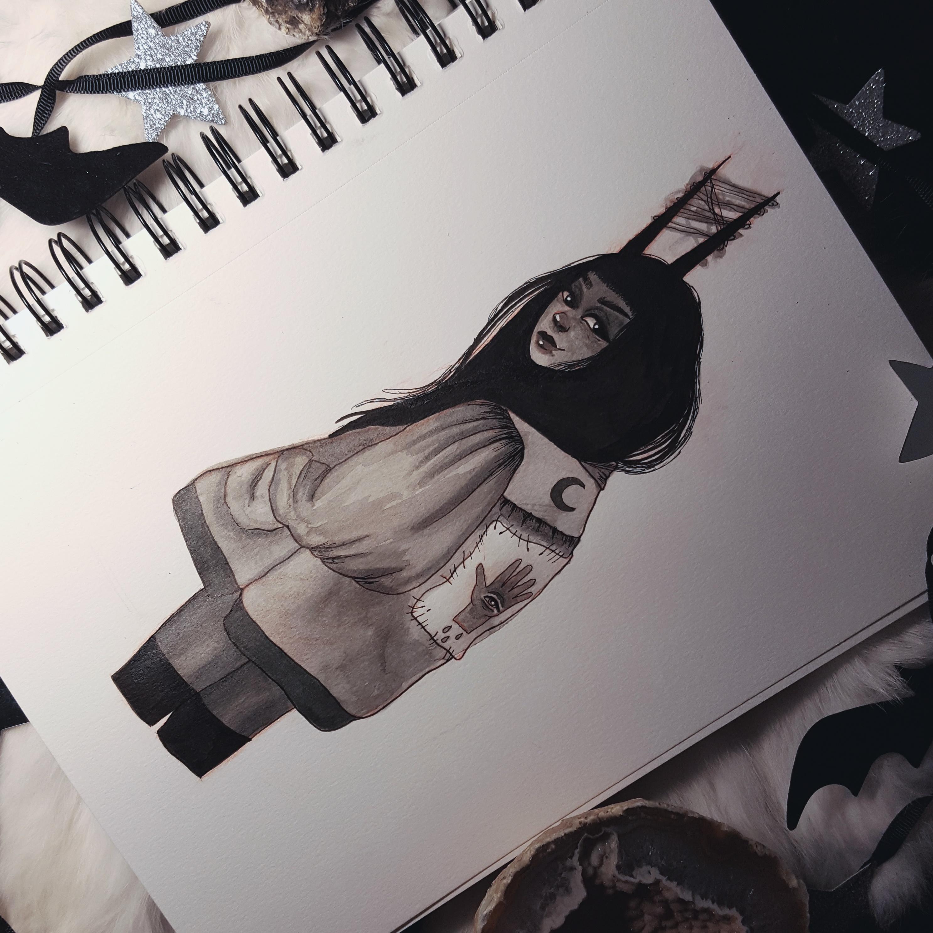 Cute Demon Girl In A Jacket Inktober Print On Storenvy