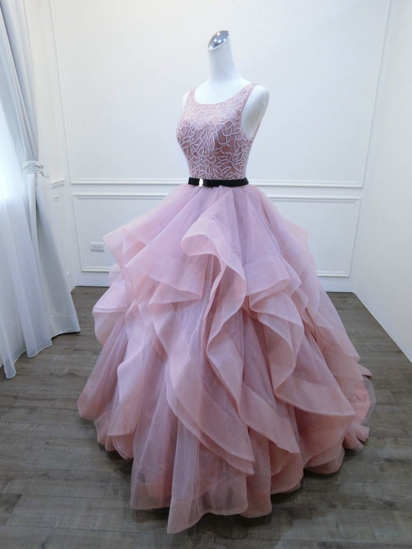 Tiered Skirt Prom Dress,Sexy Open Back Blush Pink Prom Gown