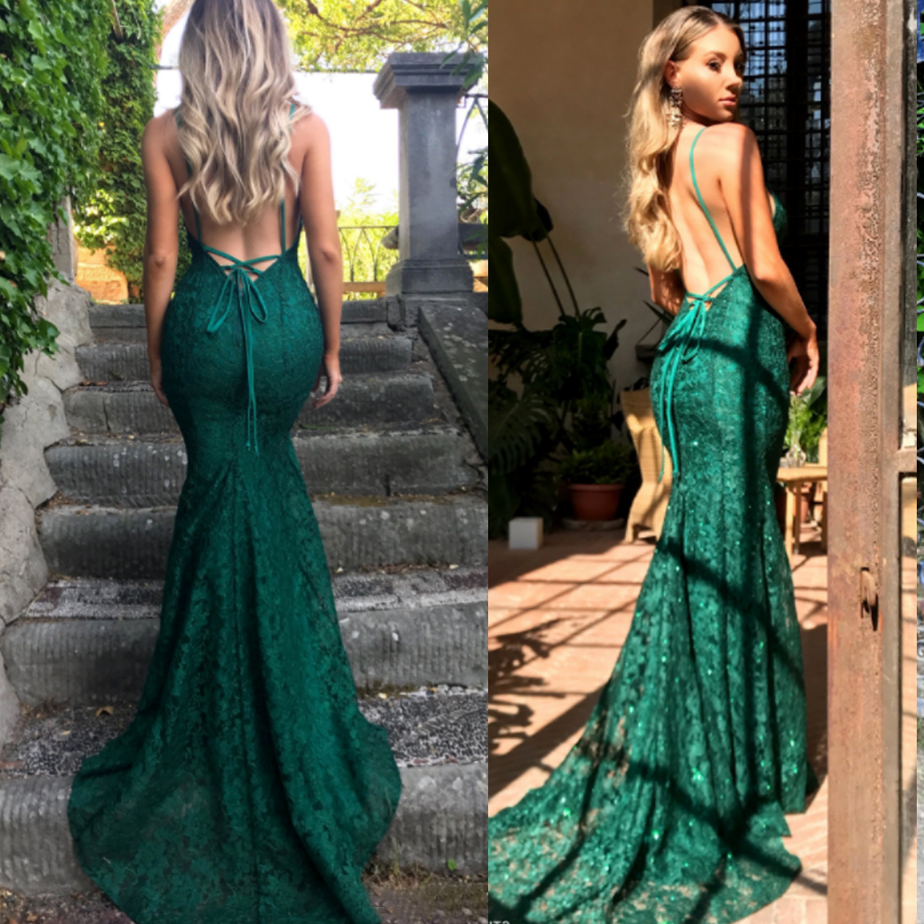 b9af759a2e5 Green lace sexy mermaid spaghetti strap lace up back prom dresses. PD0624