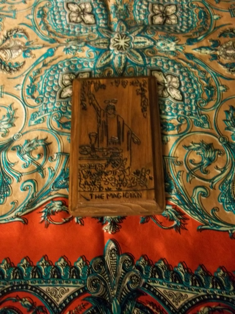 The Magician Tarot Card Woodburned Altar Decor from Crystalline Conjurations