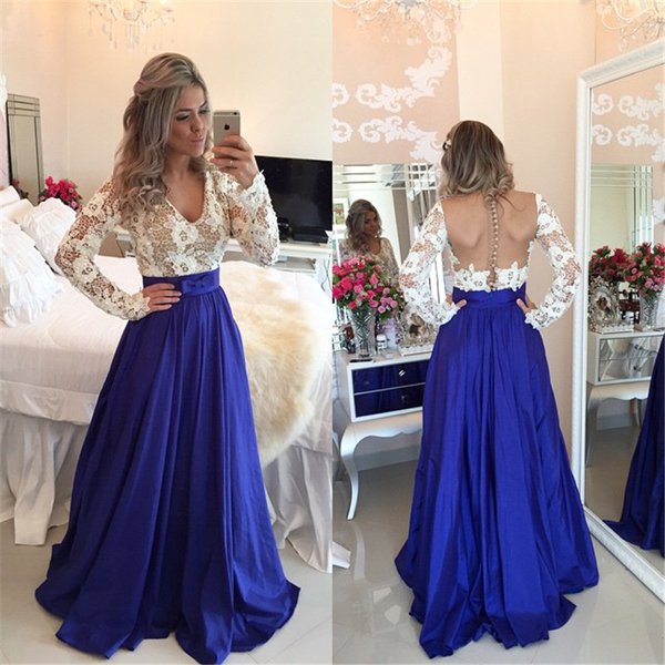 Long Sleeves Royal Blue Skirt White Lace V Neck See Through Prom ...
