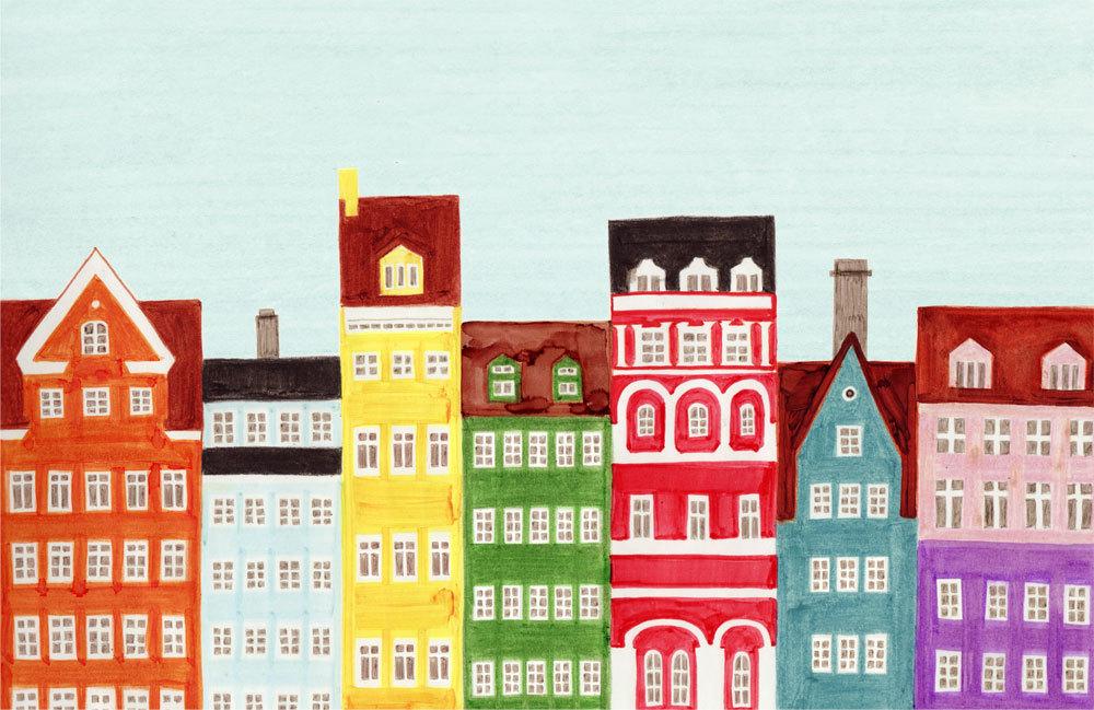 Copenhagen, Denmark, Colorful Scandinavian Architecture, Art Illustration  Giclee Print