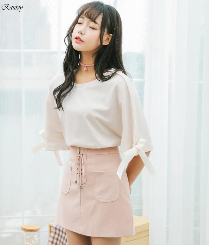 Image of: Korean Girl Htb1qpdhqxxxxxarxvxxq6xxfxxxu Small Pinterest Harajuku Bow Sleeve Korean Cute Tops On Storenvy