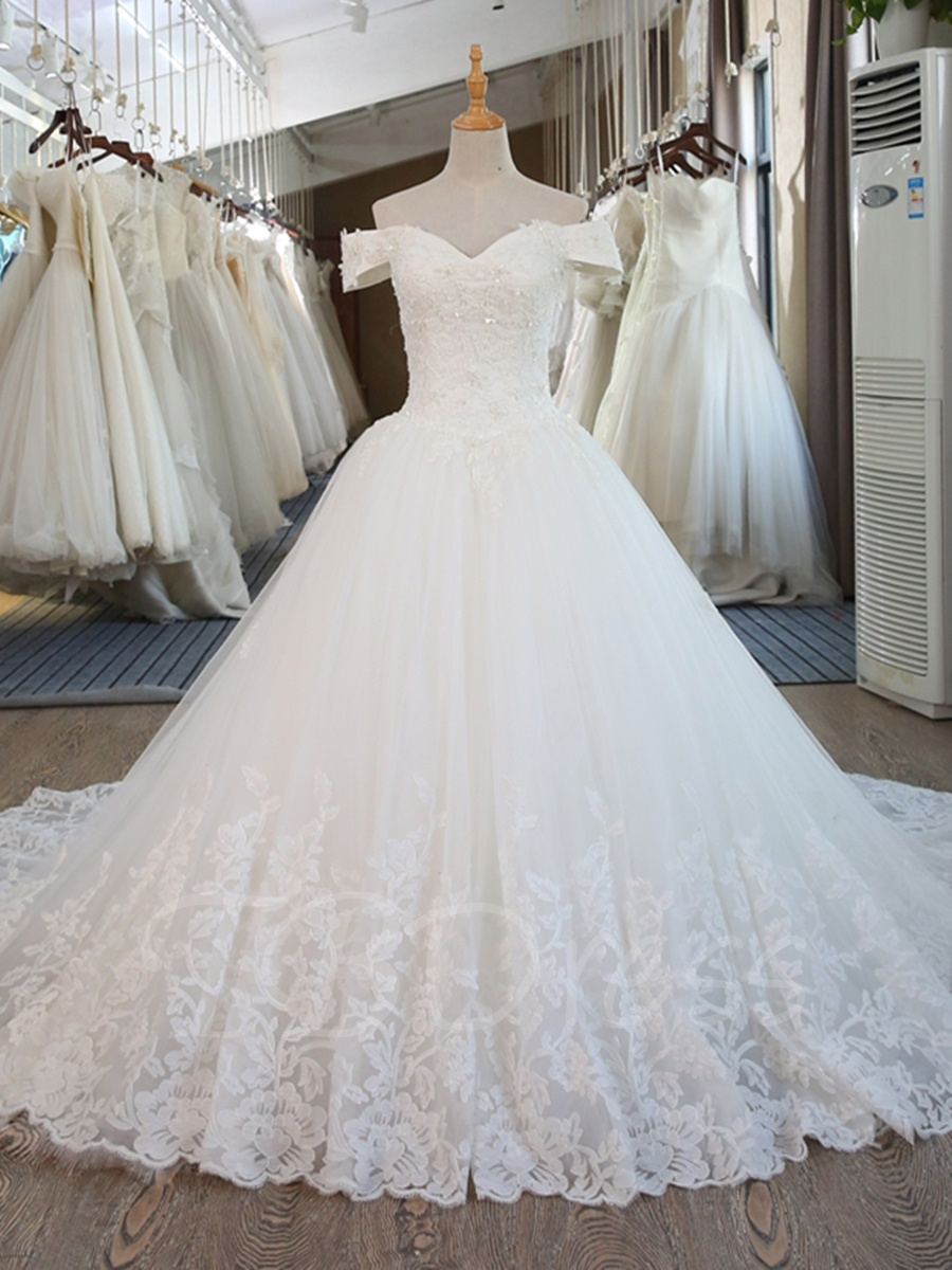 W178 Appliques Beaded Off The Shoulder Ball Gown Wedding Dress,Real ...
