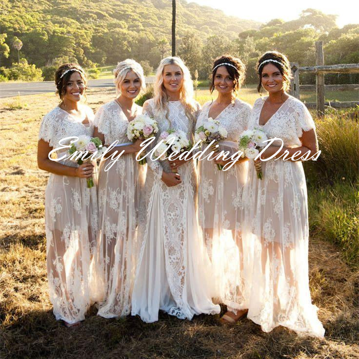 F210 Summer Bohemian White Sheer Lace Bridesmaid Dresses Long