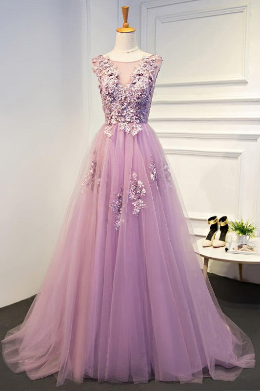 2018 A line Pink Lace Long Evening Prom Dresses, Sexy See Through ...