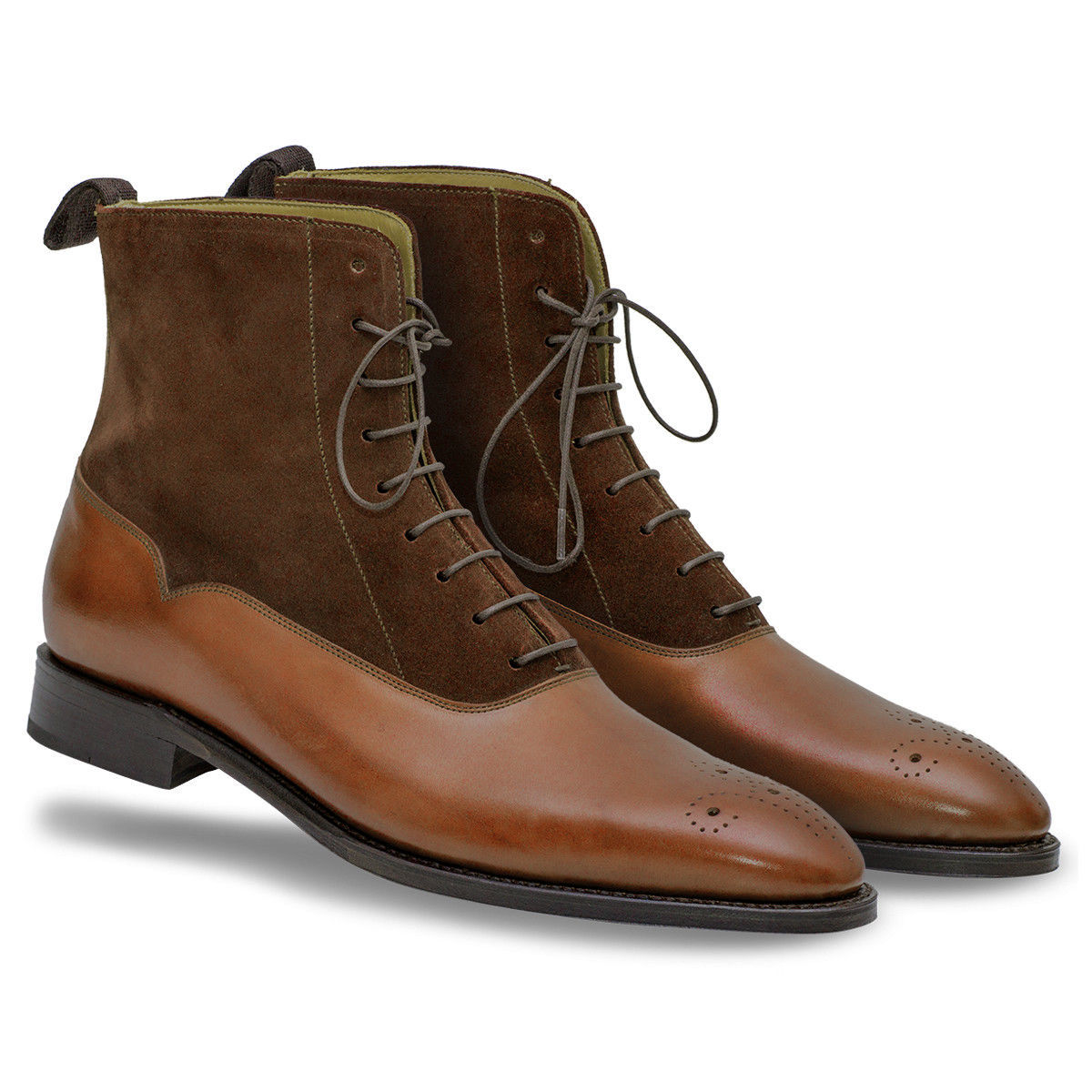 61e9335ed46 Mens Ankle High Brogue Dress Boots Leather Dress Tuxedo Formal Suede Boots  from Rangoli Collection
